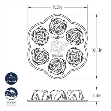 Rosebud Cake Pan Dimensional Drawing
