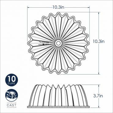 "Brilliance Bundt Pan dimensional drawing, 10.3"" x 10.3"" x 3.7"""