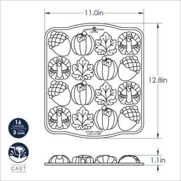 Autumn Cakelet Pan Dimensional Drawing