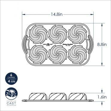 Dimensional Drawing of Heritage Bundtlette Pan