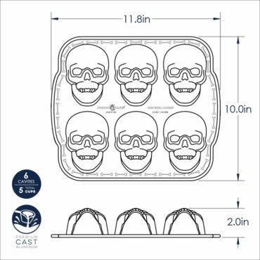 Dimensional drawing Haunted skull cakelet pan