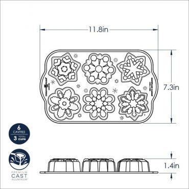 Snowflake Cakelet Pan Dimensional Drawing