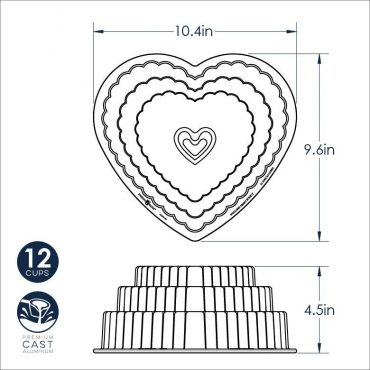 Tiered Heart Bundt Dimensional Drawing