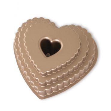 Tiered Heart Bundt Pan, exterior toffee color