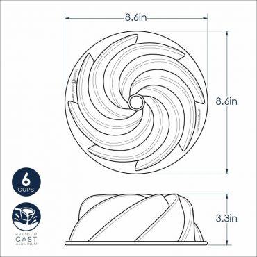 Dimensional Drawing 6 Cup Heritage Bundt Pan