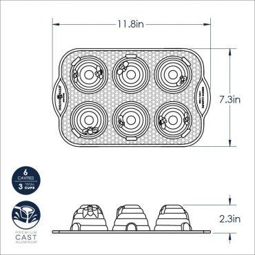 Dimensional Drawing of Beehive Cakelet Pan