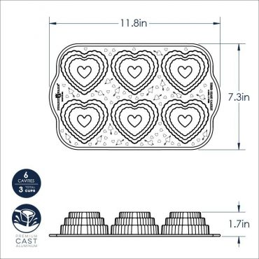 Tiered Heart Cakelet Pan Dimensional Drawing