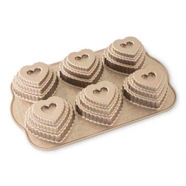 Tiered Heart Cakelet Pan, exterior toffee color
