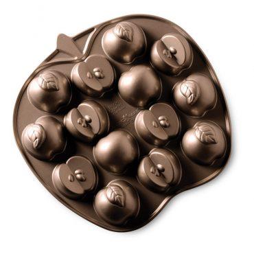 Apple Slice Cakelet Pan, 14 small half apple cavities, bronze exterior