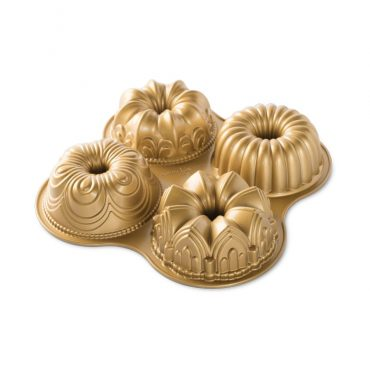 Bundt® Quartet Pan, 4 Bundt designs, gold exterior