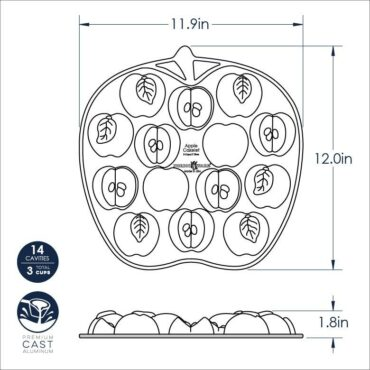 Apple Slice Cakelet Pan Dimensional Drawing