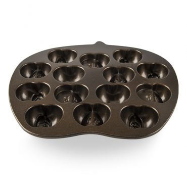 Apple Slice Cakelet Pan, 14 small half apple cavities, bronze nonstick interior