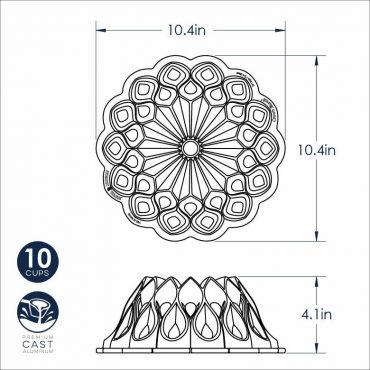 Dimensional Drawing Crown Bundt Pan