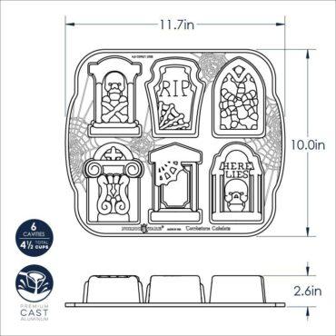 Dimensional Drawing Tombstone Cakelet pan