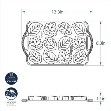 Dimensional Drawing Leaflettes Cakelet Pan