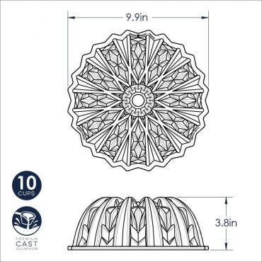 Cut Crystal Bundt Dimensional Drawing