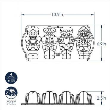 Dimensional Drawing of Nutcracker Cakelet Pan