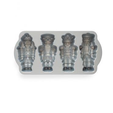 Nutcracker Cakelet Pan, 4 designs in silver interior