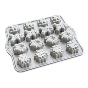 Holiday Teacakes Cakelet Pan, 16 mini holiday design cavities- presents, gingerbread man, wreaths, and snowflakes