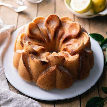 Baked Magnolia Bundt on plate