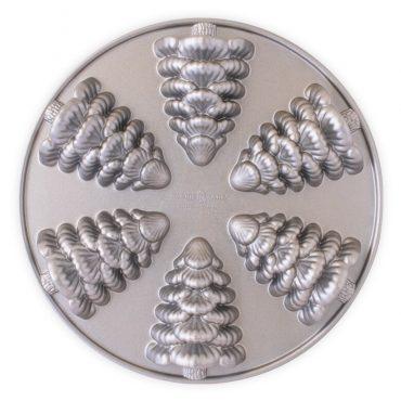 Evergreen Cakelet Pan, silver exterior, 6 cavities