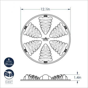 Dimensional Drawing Evergreen Cakelet Pan