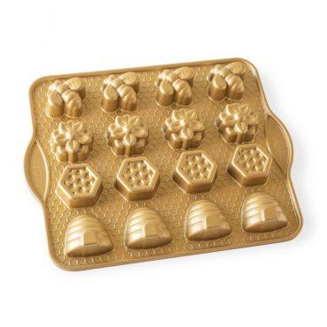 Busy Bee Bitelet Pan, 16 cavities gold exterior