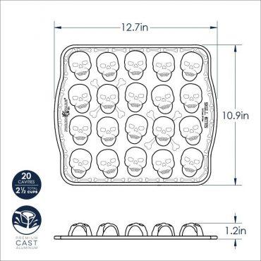 Dimensional drawing Skull Bites Cakelet Pan, 20 cavities