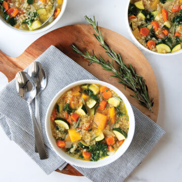 Rosemary Butternut Squash, Quinoa, and Vegetable Soup