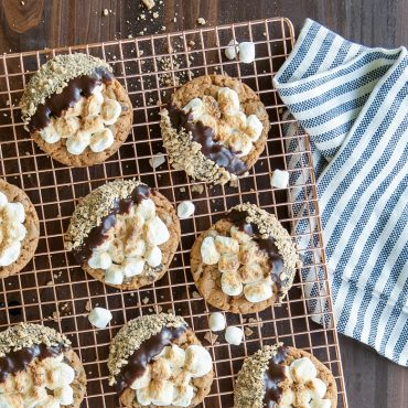Baked s'mores cookies on cooling rack