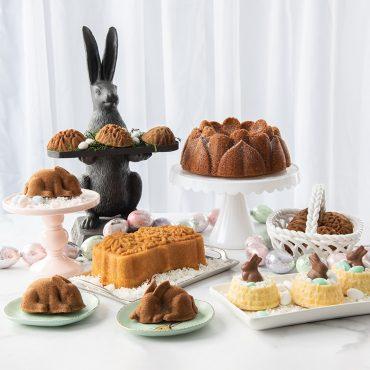 Easter baking display including baked Easter basket cakes