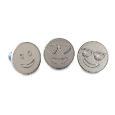 Emoji Cookie Stamps, 3 designs with smiley face, heart smiley face, and sunglasses smiley face