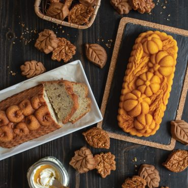 Montage of fall harvest cakes - apple loaf sliced, pumpkin wheat loaf, spice leaves and granola bite leaves