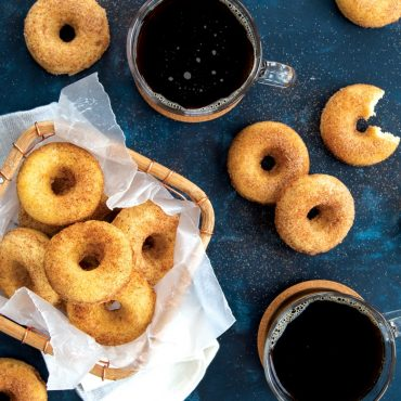 Baked mini donuts and coffee