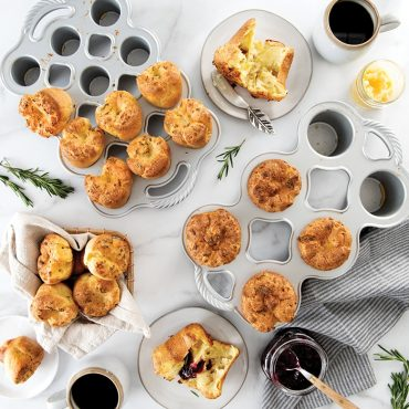 Popover group shot, regular and petite pans, two plated