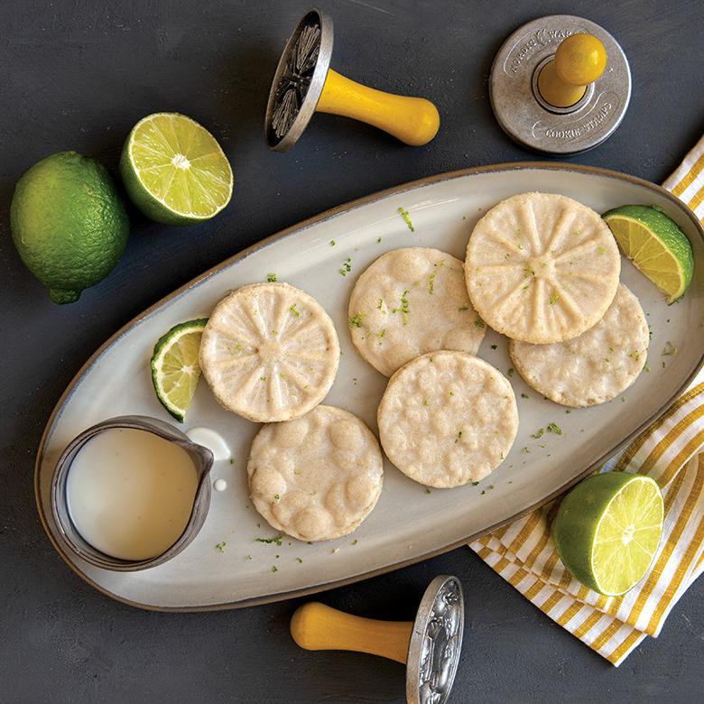 Lime Glazed Shortbread Cookies