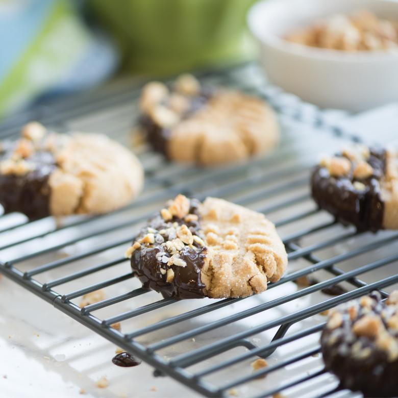 Chocolate-Dipped Peanut Cookies