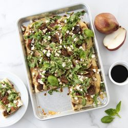 Prosciutto, Pear and Fig Sheet Pan Pizza with Goat cheese