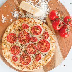 Gluten Free Tomato and Smoked Provolone Pizza