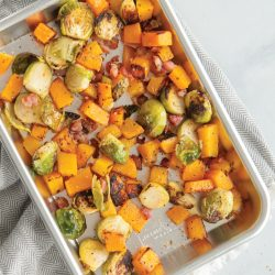 Spicy Maple Roasted Brussels Sprouts and Butternut Squash with Bacon