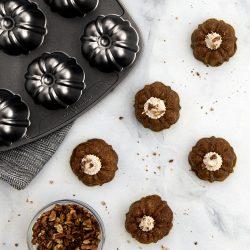 Mini Pumpkin Pie Bundts with Chai Whipped Cream