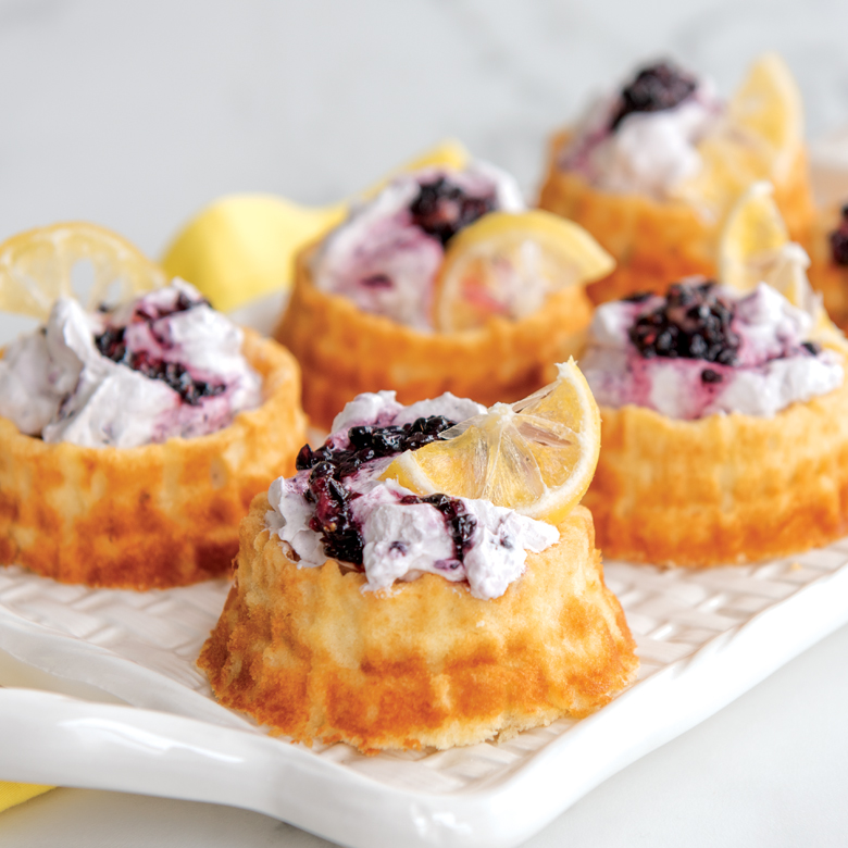 Shortcake Baskets with Blackberry Lavender Whipped Cream