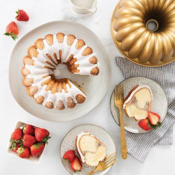 Strawberry Swirl Vanilla Bundt Cake