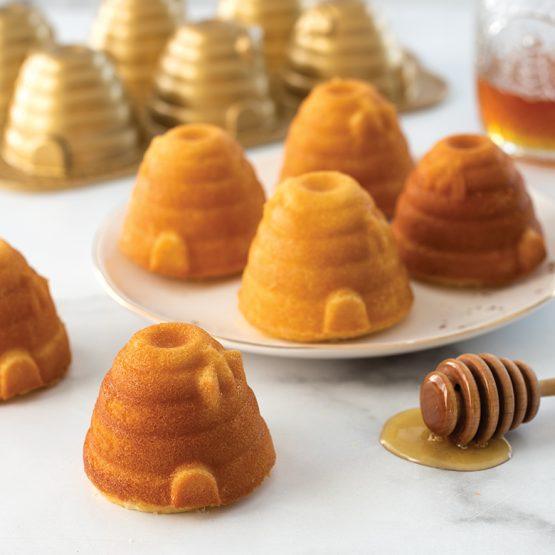 Almond Beehive Cakelets with Honey Lemon Glaze