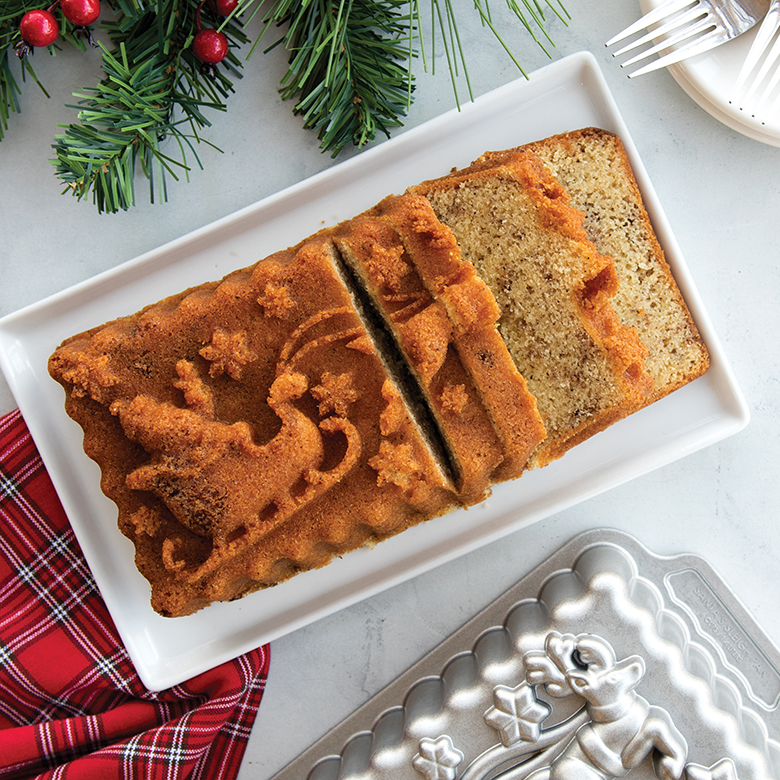 Cinnamon Swirl Santa Loaf Cake
