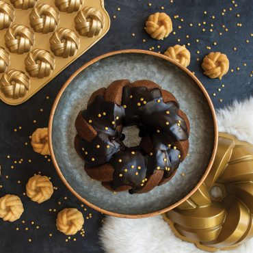 75th Anniversary Braided Bundt® Collection baked cakes with gold pans