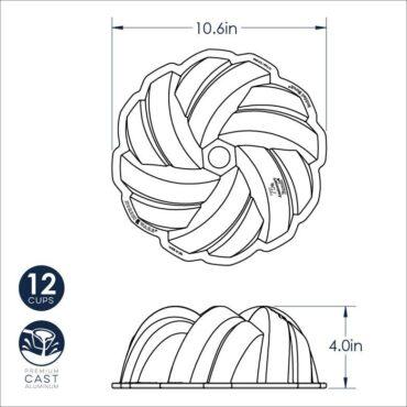 75th Anniversary Braided Bundt® Pan, dimensional drawing image
