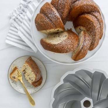 75th Anniversary Braided Bundt® Baked Cake with interior view of pan