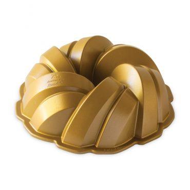 75th Anniversary Braided Bundt® Pan, Side view of pan