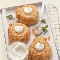 Pineapple-Streusel Cornmeal Cake with Spiced Whipped Cream